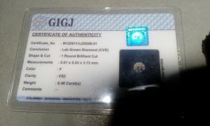 2 бриллианта (CVD) по 0.46карата, Цвет-F(G), чистота -VS2(SI1)